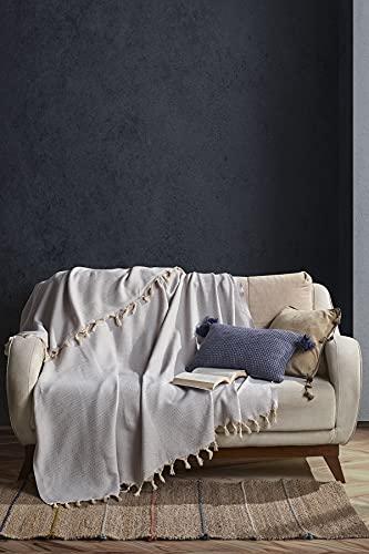 BOHORIA® Tagesdecke Atelier Oriental extra groß 165x220cm | 100% Baumwolle | Überwurf für Sofa, Sessel & Bett | Kuscheldecke Sofadecke Wolldecke Wohndecke (Cloud)