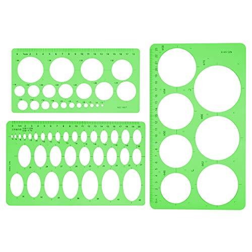Phoetya 3-teilige Kreisvorlage, professionelle Messvorlage Lineale Kunststoffkreis und ovale Kreisspur Geometrische Zeichnungslineale Sets 20/22 / 25cm für Schule, Büro, Zeichnung, Bau