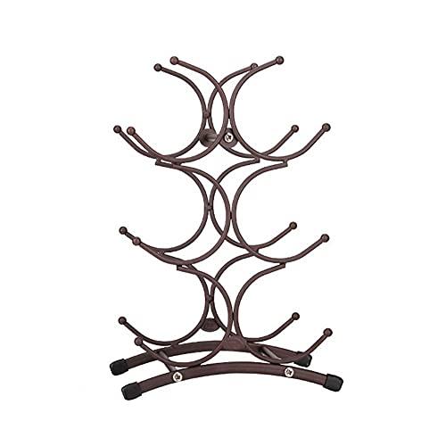 Estante para Vino de Mesa Soporte para Vino de 16 Botellas Organizador de Almacenamiento de Vino con Soporte para Vasos 6-9 Soporte para Vino de 4 Niveles y 4 Niveles Bambú Independiente 47 × 29 × 99