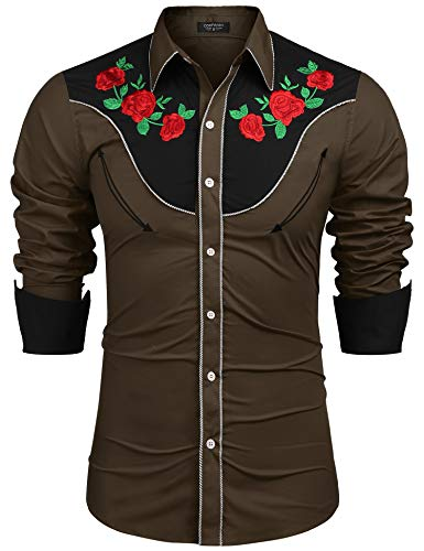 COOFANDY Men's Embroidered Rose Design Western Shirt Long Sleeve Button Down Shirt(Army Green,M)
