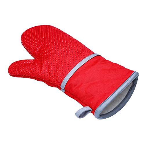 Keukenoven, bakhandschoenen, familie duurzaam en hittebestendig, antislip siliconen katoenen doek magnetronhandschoenen (afzonderlijke handschoen), geschikt voor het grillen braden koken in een pot