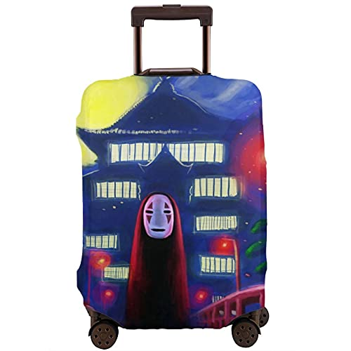 Anime Spirited Away No Face Man Koffer-Schutztasche, waschbar, 3D-Druck, 4 Größen für die meisten Gepäck, Schutztasche mit Reißverschluss