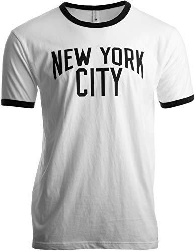 New York City | Iconic NYC Lennon Ringer Vintage Retro Style Men Women T-Shirt-(Adult,L)