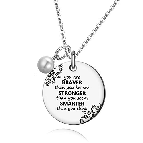 UOIPENGYI Graduation Gifts 2021 Teen Girl Gifts - Always Remember You are Braver/Stronger/Smarter Than You Think Necklace, Inspirational Gifts, for Teen Girls