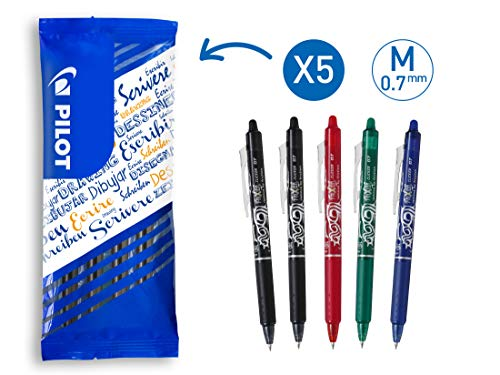 PILOT FriXion Clicker, radierbarer Tintenroller, 5er Set (Schwarz, Rot, Grün, Blau)