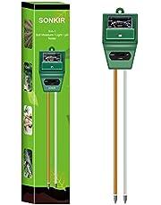 Sonkir pH-meter voor grond, MS02 3-in-1 bodemvocht/licht/pH-tester Tuingereedschapssets voor plantenverzorging, ideaal voor tuin, gazon, boerderij, gebruik binnenshuis en buitenshuis (groen)