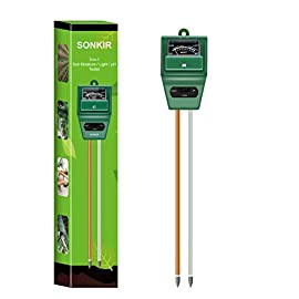 Sonkir Soil pH Meter, MS02 3-in-1 Soil Moisture/Light/pH Tester Gardening Tool Kits for Plant Care, Great for Garden… 1 Kindly NOTE: This soil tester can not be applied to test pH value of any other liquid. If the soil is too dry the indicator will not move, and water it before testing. 3-IN-1 FUNCTION: Test soil moisture, pH value and sunlight level of plant with our soil meter, helps you specialize in grasping when you need to water your plant. ACCURATE & RELIABLE: Double-needle Detection Technology strongly enhances the speed and accuracy of detecting and analyzing soil moisture and pH acidity.