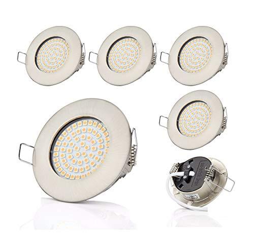 6 x SW-68N Sweet led® Flache LED Einbaustrahler | 400 Lumen | 3.5W | 230V | Gehäuse Rund, Chrom | Licht Warmweiss 3000K