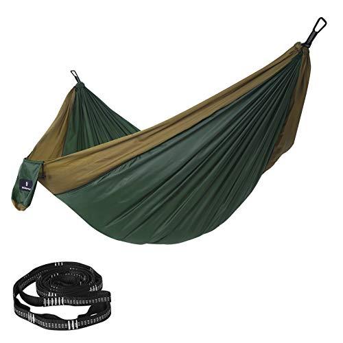 SONGMICS Hängematte Ultraleicht, für 2 Personen, aus Ripstop-Nylon, bis 300 kg belastbar, 300 x 200 cm, für Rucksackreisen, Camping, Wandern, dunkelgrün-braun GDC20CA