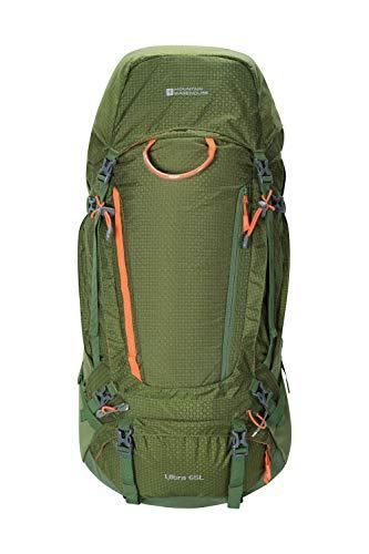Mountain Warehouse Ultra 65L Rucksack - Robuster Rucksack, wasserdichter Regenschutz, verstellbares Rückensystem, Bodenfach, atmungsaktive Träger - für Camping, Reise Grün Einheitsgröße