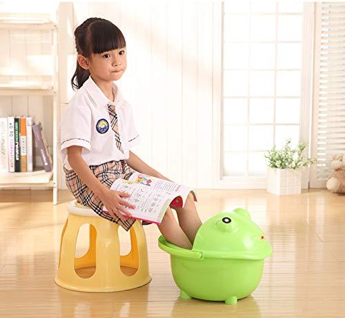 阿斯卡利(ASCARI)儿童洗脚盆洗脸盆bb新生儿用品塑料洗脚桶带盖可按摩玫红色 玫红配绿色
