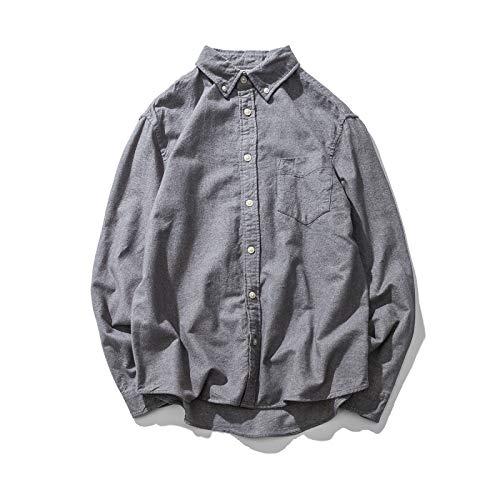 Camisas de Hombre Primavera y otoo Retro Casual Suelta Solapa lijada Camisas de Manga Larga Color Puro Camisas Casuales Simples y verstiles 3XL