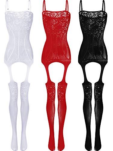 3 Stücke Damen Spitze Strümpfe Blumen Fischnetz Bodys Dessous Nachtwäsche für Romantische Datum Tragen (Farbe Set 3)