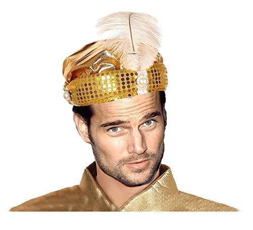 EL CARNAVAL Sombrero Turbante Maraja PAJE Rey Mago Dorado con Piedras para Adulto