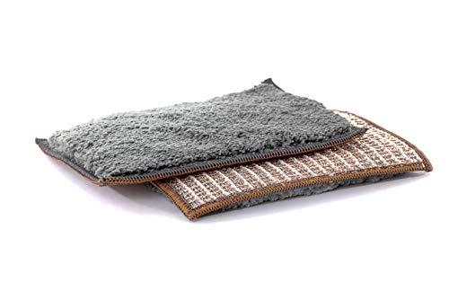 PREMIUM Kupfer-Schwammtuch 2er-Set zur kratzfreien und schonenden Intensivreinigung gegen hartnäckigen Schmutz und Kalkflecken, auch für Glas + Chrom geeignet