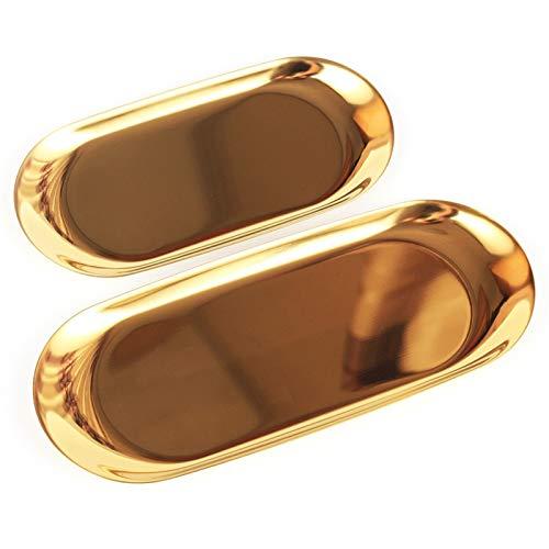 AYGANG Bandeja para Servir 2 Piezas De Joyería De Oro Placa De Almacenamiento Metal Oval De Acero Inoxidable Postre Paleta De Escritorio Escombros De Escombros 756 (Color : Golden Large)
