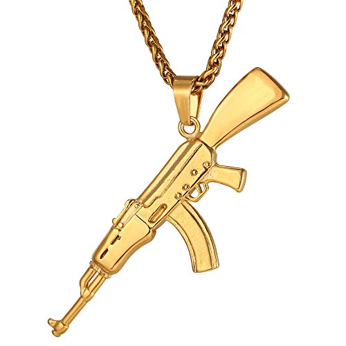 U7 Men Cool AK47 Rifle Shape Pendant & Chain 18K Gold Plated Rock Army Style Personalized Necklace Jewelry,Chain 22'