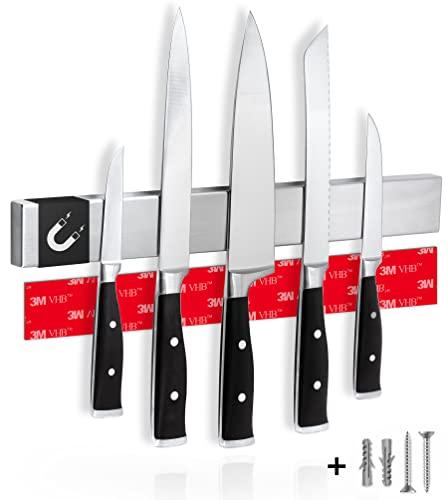 Cucino Magnetleiste Messer mit extra starkem Magnet - Einfache Montage mit 3M Klebeband, Magnetleiste selbstklebend aus Edelstahl - 40cm