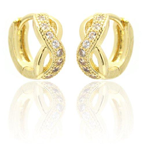 2LIVEfor Infinity Creolen Silber Ohrringe Silber Unendlich Elegant verziert Barock Antik Rund Creole Liebe Design Ornamente Creolen Glitzer Steine Kristalle (Gold)
