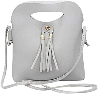 TOOGOO Simple Casual Tassels Hasp Small Handbags Women Girls PU Leather Shoulder Messenger Crossbody Bags Coin Phone Bag Ladies Gray