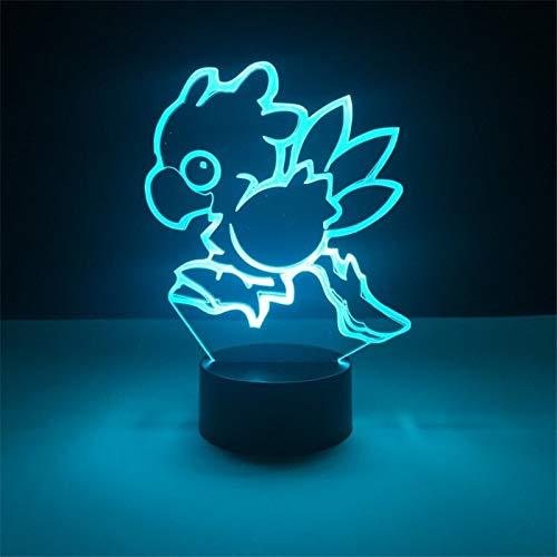 Final Fantasy Chocobo LED Luz Nocturna Lámpara De Mesa USB 3D Light Game Regalos Zhenzhiyangshangmao (Color : 7 Color)