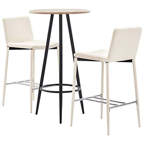 Tidyard Taburete de Bar Muebles Cocina Silla de Comedor para Salon Cocina Mesa 1# Set Mesa Alta y taburetes de Bar 3 Piezas Cuero sintético Crema