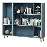 Estantería de madera maciza, estante de almacenamiento multifunción con patas, estantería de 74 x 24 x 92 cm (azul) (tamaño: 8 rejilla con patas)