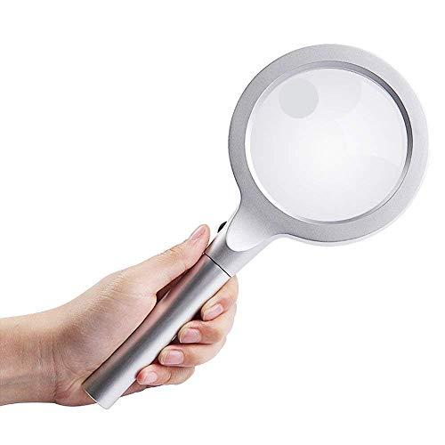 LUISONG FANMENGY Lupa De Mano de Cristal, Espejo Principal 10 Times Mirror 20 Veces de Alta resolución, Anciano Leyendo Mantenimiento Periódico de identificación Antiguo