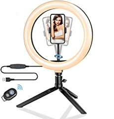 """【10.2"""" LED Ring Light with Stand】-- Compare to other phone ring light, BW-SL3 10.2"""" ring light with 120pcs bulbs is much bigger and powerful, getting you an outstanding look when doing makeup, live streaming, youtube video, vlog, selfie and video cha..."""