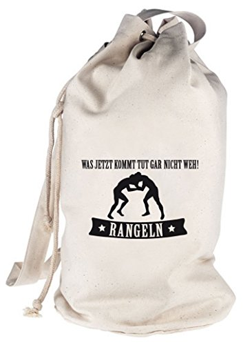 RANGELN - WAS JETZT KOMMT..., bedruckter Seesack Umhängetasche Schultertasche Beutel Bag, Größe: onesize,natur
