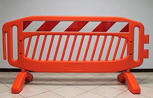 Transenna stradale (pacco da 10 pezzi) in plastica HDPE 215 x 110-10 kg. Ideale per sicurezza stradale e manifestazioni sportive ed eventi (10 pz, arancione)