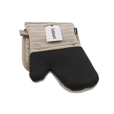 Cuisinart Kitchen Oven Mitt/Glove & Rectangle Potholder with Pocket Set w/Neoprene for Easy Gripping, Heat Resistant up to 500 Degrees F, Twill Stripe - Tan