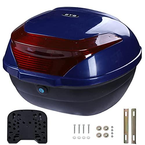 JKGHK Baúl Moto, Caja Superior para Almacenamiento de Equipaje para Casco, Caja Trasera para Viaje Turismo Scooter/ciclomotor, con luz de Advertencia Nocturna, Hardware de Montaje Universal - 28 L