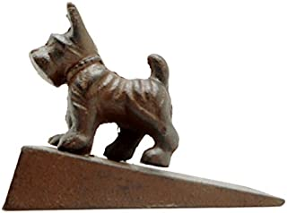 Rustic Brown Cast Iron Scottie Dog Door Wedge, Scottish Terrier Doorstop