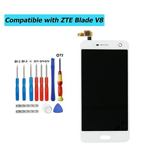 E-YIIVIIL - Pantalla LCD de repuesto compatible con ZTE Blade V8 BV0800, Blade V0800 5,2 pulgadas (color blanco, sin marco), pantalla táctil LCD con kit de herramientas