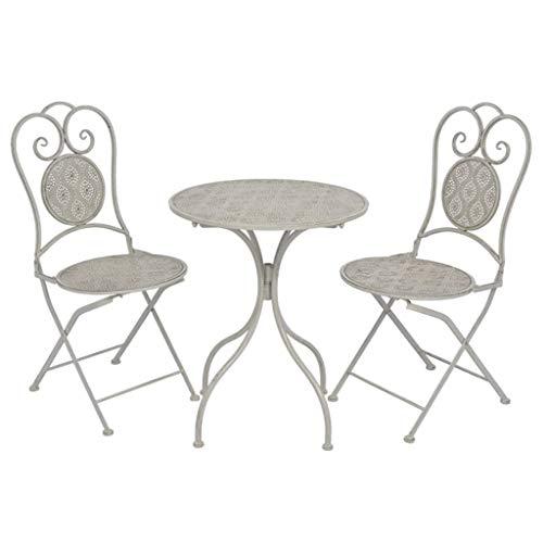 SHUJUNKAIN Mesa y sillas bistró de jardín 3 Piezas Acero Gris Mobiliario Muebles de jardín Conjuntos de jardín Gris con Detalles Pintados a Mano