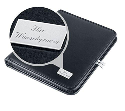 Konferenzmappe mit Wunschgravur - A4 Ringbuch schwarz - personalisierter Organizer mit Reißverschluss - qualitativ imitiertes Leder - CD Fach, Schreibblock, Stiftehalter - Geschenkidee - Büro Zubehör