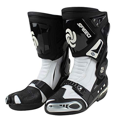XHXMM Botas de Moto Hombre, Botas de Cuero Deportivas, Alta Resistencia Blindada para Botas de Carretera Botas de Tobillo Cortas y Suaves Botas de Piloto, con Protección de Tobillo,Blanco,45