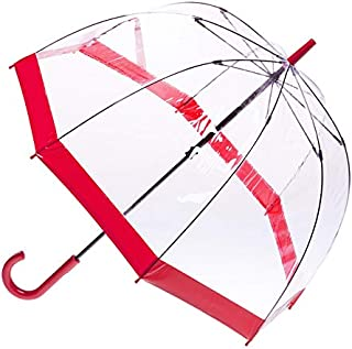 CLIFTON UMBRELLAS New Red Trim Clear PVC Birdcage Windproof Umbrella, Red, One Size