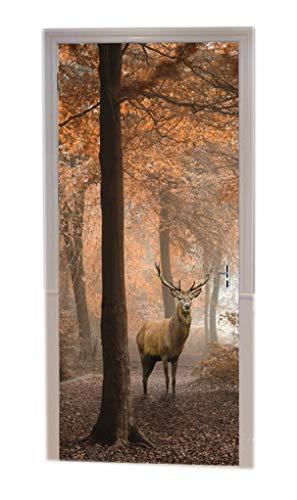 A.Monamour Türtapeten Selbstklebend 3D Hirsch Im Roten Nebligen Herbstwald Bunte Bäume Tier Thematische Naturlandschaft Türtapete Türposter Tapete 77x200cm