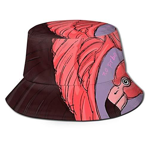 GAHAHA Fischerhüte für Herren, Flamingo, Fliegen, Fischermütze, Bootfahren, tragbar, UV-Schutz, Jungen, faltbar, Sommerhut