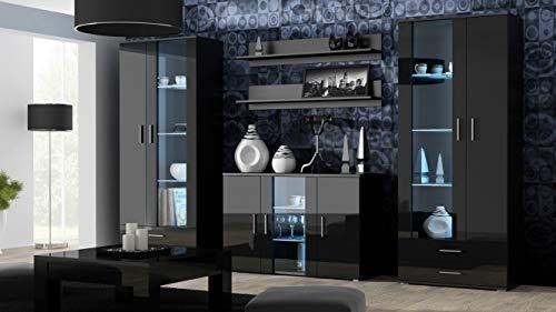 Wohnwand SOHO 10 mit Blauer LED Beleuchtung, Anbauwand, Wohnzimmerschrank, Schrankwand, Vitrine, Lowboard, Hängeregal (Schwarz/Schwarz Hochglanz)