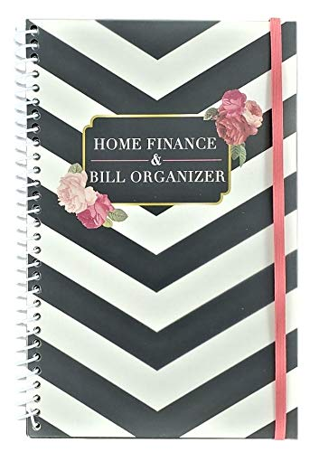 Home Finance & Bill Organizer with Pockets (Black And White Chevron With Flowers)