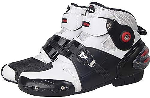 Chaussures Moto Accessoires Moto, Moto, Bottes Bottes de Moto Doux pour Homme Bottes de Motard de Vitesse imperméable pour motocyclistes. Chaussures Moto antidérapant Blanc