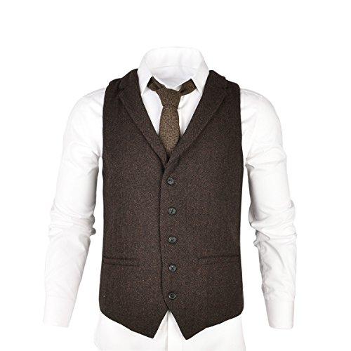 VOBOOM Mens Herringbone Tailored Collar Waistcoat Fullback Wool Tweed Suit Vest (Coffee, XL)