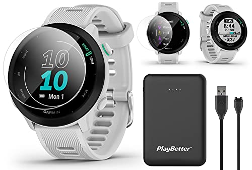 Garmin Forerunner 55 (White) GPS Running Watch Power Bundle   Includes PlayBetter Portable Charger & HD Screen Protectors   Running Watch 2021   Heart Rate, PacePro, Accurate GPS   010-02562-01