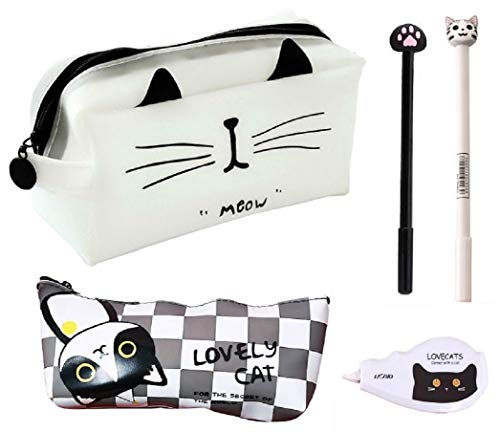 猫づくし文具5点セット 大容量猫ペンケース ポーチ シリコン素材で防水効果 ボールペン 修正テープ 化粧ポーチ (白A)