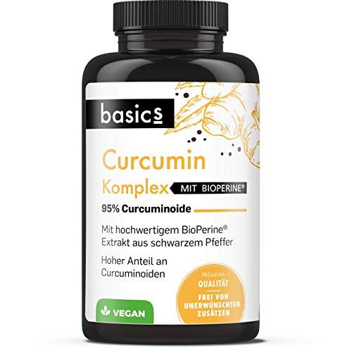basics Curcumin C3 Komplex 500mg - Bio Kurkuma-Extrakt Kapseln hochdosiert mit Bioperine + schwarzer Pfeffer für höchste Absorption - Vegan, laborgeprüft und Made in Germany