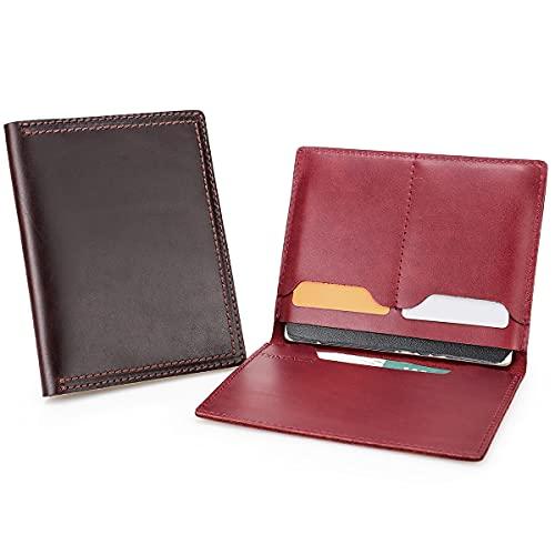 Contactos Funda de cuero para pasaporte hecha a mano titulares de la tarjeta de la Unión Europea Universal Passbook Protector Cartera Organizador de Viaje