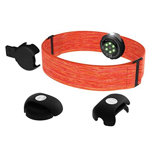 Polar OH1+ Optischer Pulssensor, Wasserdicht, Befestigungsklammer für Schwimmbrille, Bluetooth und ANT+, Textilarmband, Orange, One Size